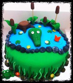 Crocodile cake Alligator Birthday Parties, Alligator Party, Baby Birthday, Birthday Cakes, Crocodile Cake, Crocodile Party, Reptile Party, Amazon River, Green Theme