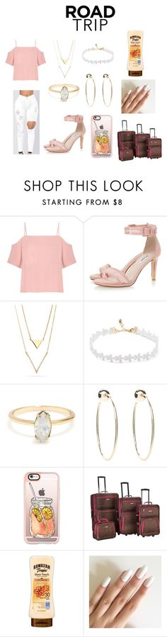 """""""Untitled #39"""" by jenadieu ❤ liked on Polyvore featuring T By Alexander Wang, Bebe, Casetify, Rockland Luggage and roadtrip"""