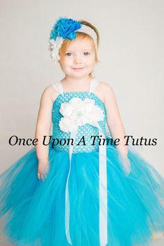 Turquoise Blue White Flower Girl Tutu Dress  by OnceUponATimeTuTus