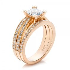 Custom Rose Gold and Princess Cut Diamond Engagement Ring #100657