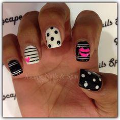 Cute Nail Designs. Black, white, pink