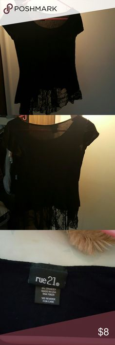 Rue21 Black Highlow top High/low top from rue21.  Black with lace hem Rue 21 Tops