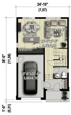Tall and Narrow - floor plan - Main Level Contemporary House Plans, Contemporary Style Homes, Small House Plans, House Floor Plans, Garage Apartment Plans, Open Concept Home, Architectural Design House Plans, Sliding Glass Door, Glass Doors