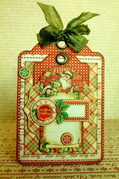 How to Create a Graphic 45 Christmas Tag by Romy using 'Twas the Night Before Christmas #g45handmadegifttutorials14