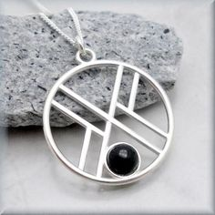 Geometric Black Onyx Necklace - Gemstone Jewelry