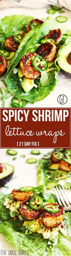 Spicy Shrimp and Avocado Lettuce Wraps Day Fix] - A crispy leaf of romaine lettuce piled high with honey lime slaw, fresh avocado, blackened shrimp, and jalapeños - a flawless combination of flavo(Spinach Recipes 21 Day Fix) Seafood Dishes, Seafood Recipes, Dinner Recipes, Cooking Recipes, Healthy Recipes, Spicy Shrimp Recipes, Lunch Recipes, Free Recipes, Keto Recipes