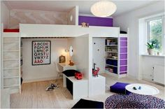 shared room loft beds with study area below
