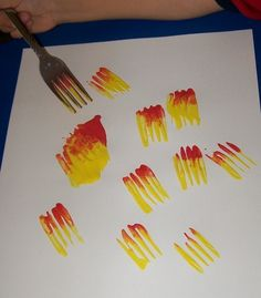 Fall Preschool Lessons - Using Forks to make Fire Flames