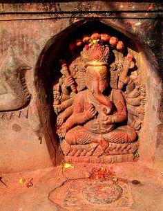 With many arms and trunk, Patan, Kathmandu, Nepal Shri Ganesh, Lord Ganesha, Nepal, Om Gam Ganapataye Namaha, Indian Colours, Elephant Love, Hindu Art, Incredible India, Amazing