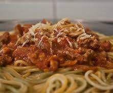 Carne picada - Esparguete à Bolonhesa