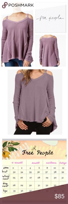 """Free People Moonshine Cold Shoulder Tunic.  NWT. Free People Moonshine Cold Shoulder Thermal Tunic, 100% cotton, machine washable, 21"""" armpit to armpit (42"""" all around), 22"""" arm inseam, 25"""" front length, 29"""" back length, ribbed V neck, gathered at wrist, honey-comb textured, unfinished trim, oversized, effortless fit, high low hem, raw seams, measurements are approx.  NO TRADES Free People Tops"""