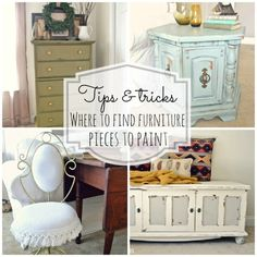 Tips  Tricks- where to find furniture pieces to re-do {for cheap!!} this blog also shares other tips and tricks on how to re-do furniture.