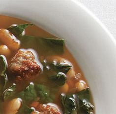 Sausage, Cannellini and Kale Soup - an all time favourite!  Make it vegetarian by leaving out the sausage!