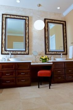 These mirror frames are so cool! Could be a DIY project around the mirrors already installed in the bathroom