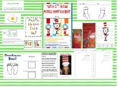 This 58 page unit is perfect Celebrating March 2nd in the primary grades. It includes 2 Cat in the hat snacks, a hat, song, glyph,Let's Label the Cat in the Hat, favorite Dr. Seuss book graph, Bartholomew and the Oobleck recipe, Seuss pattern page, Ten Apples on Top class book, Foot Book class book Whose Feet are These? , Double bubble map for Cat in the Hat and The Cat in the Hat Comes Back, Horton Hears a Who dust science experiment, Seuss popcorn word sheet, Hop on Pop flip  books, Fox in ...