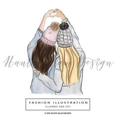 Fashion Illustration Speed Painting with Ink - Drawing On Demand Best Friend Drawings, Bff Drawings, Amazing Drawings, Best Friends Cartoon, Friend Cartoon, Blonde And Brunette Best Friends, Cute Drawlings, Best Friend Wallpaper, Cute Girl Drawing