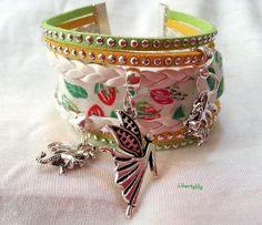 Bracelet Manchette très large Liberty authentique thème Féerique Dragons simili cuir pour femme : Bracelet par libertylily