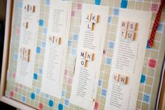 50 Place Card Ideas Wedding Invitations Photos on WeddingWire    This is great!  I have been looking for a way to tie the scrabble pics from our engagement shoot to the wedding! :)