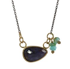 Sapphire & Peruvian Opal Necklace by Christine Mighion Jewelry - 11x 17mm rose cut natural sapphireandblue peruvian opal beads• Eco-friendly recycled 14k gold with an oxidized sterling