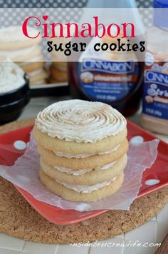 Cinnabon Sugar Cookies - basic sugar cookies made with Cinnabon sugar and syrup and topped with a Cinnabon butter cream  ...