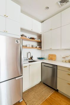 A Sunny and Bright Kitchen Renovation in Harlem, New York Real Kitchen, Kitchen On A Budget, White Kitchen Inspiration, Custom Cabinet Doors, Bright Kitchens, Custom Kitchen Cabinets, Upper Cabinets, Kitchen Flooring, Open Shelving