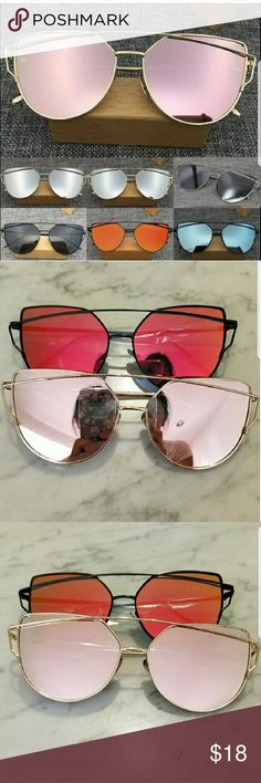 New KYLIE Cat Eye Mirrored Sunglasses Protect your eyes with this gorgeous trendy cat eye mirrored sunglasses. Unbranded.  Listing is for one pair!   Available in pink lens, and red lens. Let me know which color you would like. Accessories Sunglasses