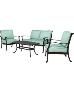 Smith and Hawken® Edinborough 4-Piece Metal Patio Conversation Furniture Set