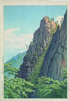 Kawase Hasui > Samburam Rock, Kumgang Mountain, 1939 - Japanese Color Woodblock Print - The Lavenberg Collection of Japanese Prints Japanese Artwork, Japanese Painting, Japanese Prints, Chinese Painting, Japanese Landscape, Landscape Art, Landscape Prints, Wallpaper Fofos, Art Occidental