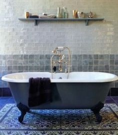 Moroccan tile bathroom. -  Handmade tiles can be designed, colour coordinated and customized by ceramic designers