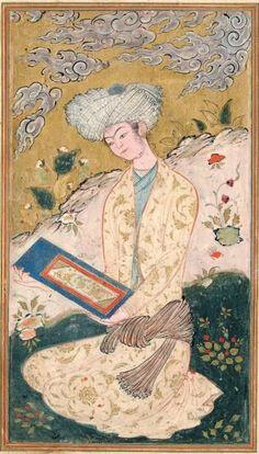 Portrait de jeune homme. Iran, Ispahan, vers 1600. Photo Rssini  Young man reading  Gouache et or sur papier,