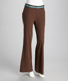 Take a look at this Brown & White Pinstripe Linen-Blend Flare Pants by Joy Mark on #zulily today!