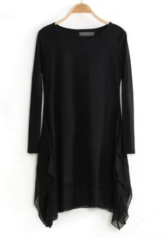 Black Two-tier Irregular Loose Cotton Blend Dress simple Sexy Party Dress, Sexy Dresses, Beautiful Dresses, Fashion Dresses, Dark Fashion, Minimalist Fashion, Black Dress With Sleeves, Black Tunic, Sheer Chiffon