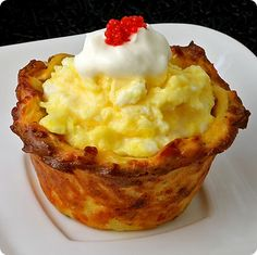 Chicks in a Nest - scrambled eggs in a hash-brown crust...OMG.  Love this idea!