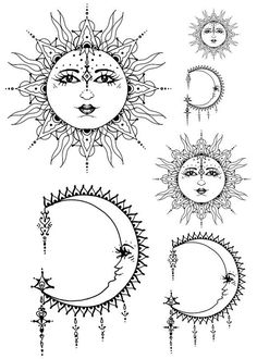 Sun And Half Moon Face Дизайн татуировки