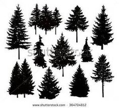 Forest clipart pine tree outline - pin to your gallery. Explore what was found for the forest clipart pine tree outline Pine Tree Silhouette, Silhouette Images, Silhouette Vector, Silhouette Cameo, Silhouette Painting, Kiefer Silhouette, Tree Outline, Conifer Trees, Evergreen Trees