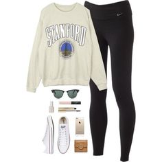 sunday by classically-preppy on Polyvore featuring NIKE, Converse, Tory Burch, Ray-Ban, NARS Cosmetics, Elizabeth Arden and Essie