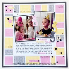 Karen Pedersen: Birthday Layout with the February Stamp of the Month