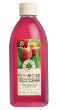 Yves Rocher's Plaisirs Nature Organic Raspberry Shower Gel! For a sweetly scented skin!  Bain douche Plaisirs Nature Framboise d'agriculture bio d'Yves Rocher. Pour une peau délicieusement sucré !