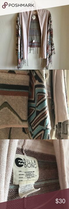MOVING SALE Billabong Tassled Patterned Cardigan Super cute tan cardigan from Billabong featuring tassles and a multicolor pattern! Size S, fits true to size. No trades please, offers always welcome! Billabong Sweaters Cardigans