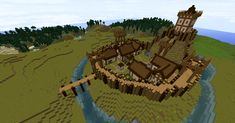 Minecraft motte and bailey castle by Ptolamy.