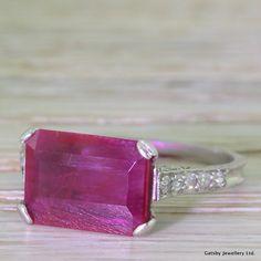 Art Deco 2.75 Carat Emerald Cut Ruby