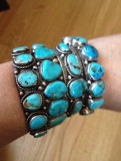 Stacked turquoise bracelets