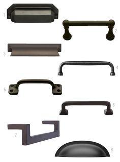 modern black cabinet pull. black cabinet hardware. contemporary