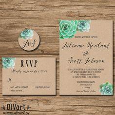 Succulent Wedding Invitation Suite, Response Card, Monogram - PRINTABLE files - garden wedding,