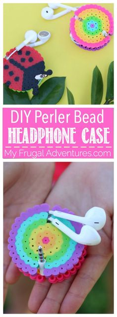 Simple DIY perler bead headphone case.  Perfect to keep your earbuds organized…
