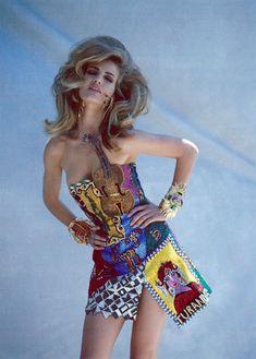 Karen Mulder in Versace for Vogue Italia, 1991