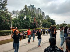 Put your hands in air and dance.Everyone and even teachers are enjoying the flash mob at IBS, Pune.