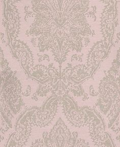 Charm - Eijffinger Wallpapers - A delightful all over damask design with a distressed effect and horizontal textured lines. Silver grey with hints of glitter on a pale pink background. Please request a sample for true colour and texture. Grey Damask Wallpaper, Blush Pink Living Room, Boarders And Frames, Girl Room, Pink Grey, Charms, Tapestry, Theme Ideas, Decor Ideas
