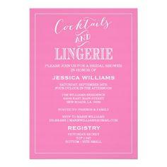 Cocktails & Lingerie Shower Invitations