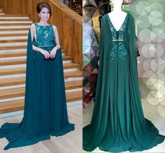 1a0af0b1ec6ad 2016 Dark Green Cape Style Evening Dresses Elie Saab Lace Applique Beads  Chiffon Prom Dresses Sweep Train Formal Party Dresses Hire Evening Dresses  Hobbs ...